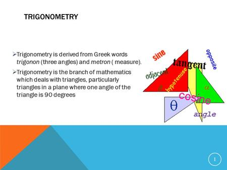 TRIGONOMETRY  Trigonometry is derived from Greek words trigonon (three angles) and metron ( measure).  Trigonometry is the branch of mathematics which.