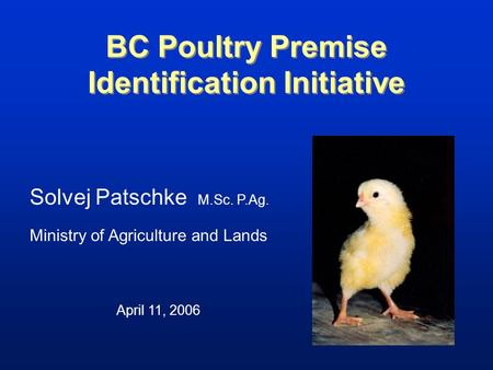 BC Poultry Premise Identification Initiative Solvej Patschke M.Sc. P.Ag. Ministry of Agriculture and Lands April 11, 2006.