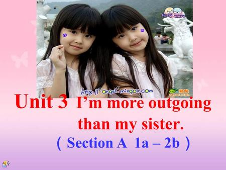 Unit 3 I'm more outgoing than my sister. ( Section A 1a – 2b )