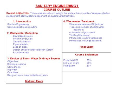 SANITARY ENGINEERING 1 COURSE OUTLINE 4. Wastewater Treatment Wastewater treatment Objectives Types and methods of wastewater treatment Activated sludge.
