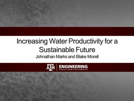 Increasing Water Productivity for a Sustainable Future Johnathan Marks and Blake Morell.