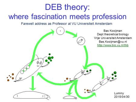 DEB theory: where fascination meets profession Bas Kooijman Dept theoretical biology Vrije Universiteit Amsterdam