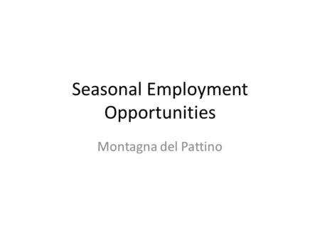 Seasonal Employment Opportunities Montagna del Pattino.