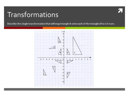  Transformations Describe the single transformation that will map triangle A onto each of the triangles B to J in turn.