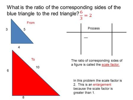 Process What is the ratio of the corresponding sides of the blue triangle to the red triangle? 35 4 6 10 8 The ratio of corresponding sides of a figure.