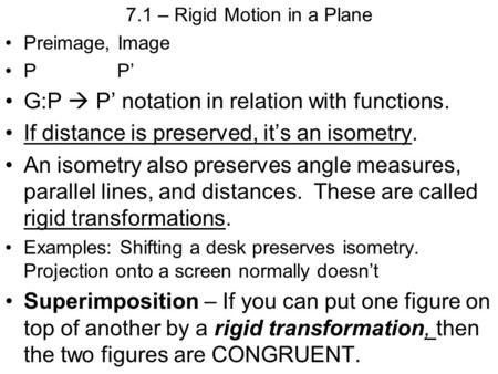 7.1 – Rigid Motion in a Plane