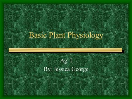 Basic Plant Physiology Ag. I By: Jessica George. Basic Parts of a Flowering Plant Roots Stems Leaves Flower.