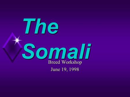 The Somali Breed Workshop June 19, 1998. Preface The Somali is often described as メ The Feline Fox モ.