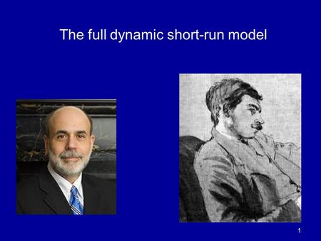 1 The full dynamic short-run model. 2 The Dynamic Model A nice new addition to Mankiw. Combines - IS - LM (changed to reflect central bank targeting)