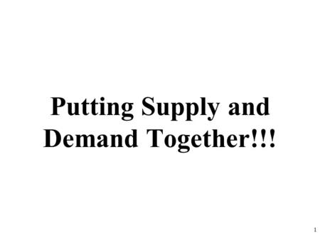 Putting Supply and Demand Together!!! 1. Q o $5 4 3 2 1 P Demand Schedule 10 20 30 40 50 60 70 80 2 PQd $510 $420 $330 $250 $180 D S Supply Schedule PQs.