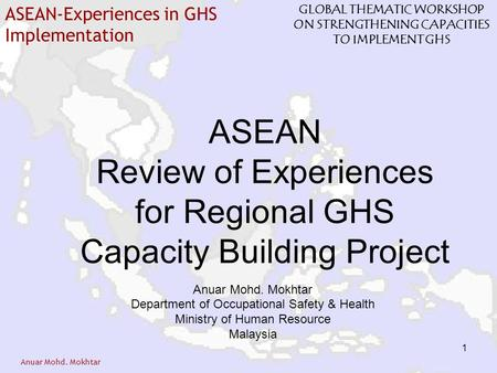 Anuar Mohd. Mokhtar ASEAN-Experiences in GHS Implementation GLOBAL THEMATIC WORKSHOP ON STRENGTHENING CAPACITIES TO IMPLEMENT GHS 1 ASEAN Review of Experiences.
