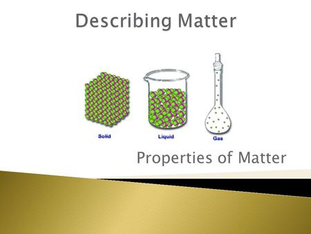 Properties of Matter.  Matter: Anything that has mass and volume.