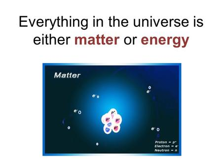 Everything in the universe is either matter or energy