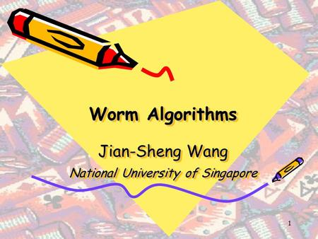 1 Worm Algorithms Jian-Sheng Wang National University of Singapore.