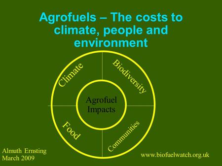 Agrofuels – The costs to climate, people and environment Food Communities Biodiversity Climate Agrofuel Impacts www.biofuelwatch.org.uk Almuth Ernsting.