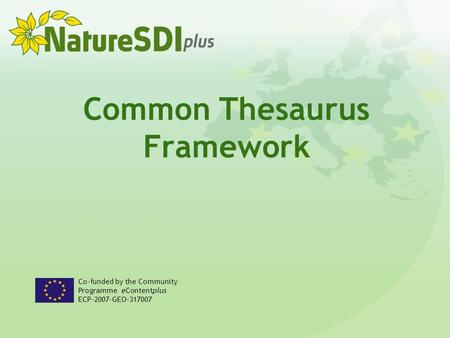 Common Thesaurus Framework Co-funded by the Community Programme eContentplus ECP-2007-GEO-317007.