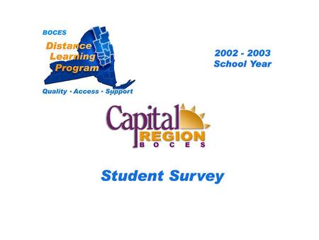 .. CRB Distance Learning Project Student Survey 2002 – 2003 School Year BOCES Distance Learning Program Quality Access Support.