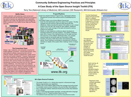 Community Software Engineering Practices and Principles A Case Study of the Open Source Insight Toolkit (ITK) Terry Yoo (National Library of Medicine),