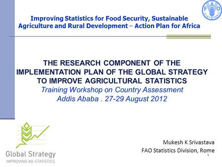 1 Improving Statistics for Food Security, Sustainable Agriculture and Rural Development – Action Plan for Africa THE RESEARCH COMPONENT OF THE IMPLEMENTATION.