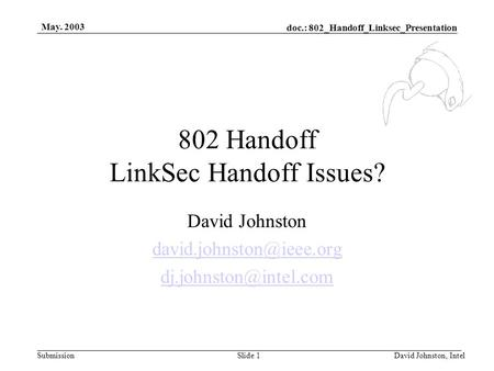 Doc.: 802_Handoff_Linksec_Presentation Submission May. 2003 David Johnston, IntelSlide 1 802 Handoff LinkSec Handoff Issues? David Johnston