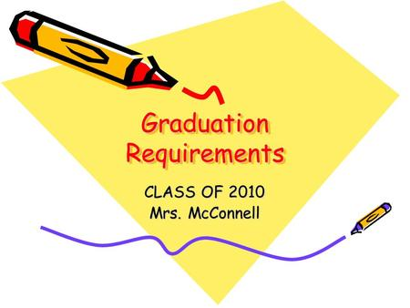 Graduation Requirements CLASS OF 2010 Mrs. McConnell.