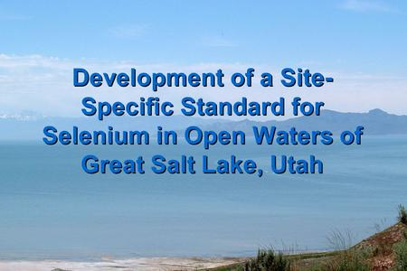 Development of a Site- Specific Standard for Selenium in Open Waters of Great Salt Lake, Utah.