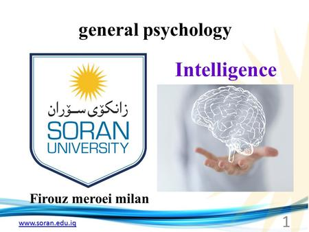 Www.soran.edu.iq general psychology Firouz meroei milan Intelligence 1.