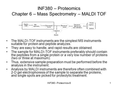 INF380 - Proteomics-61 INF380 – Proteomics Chapter 6 – Mass Spectrometry – MALDI TOF The MALDI-TOF instruments are the simplest MS instruments suitable.