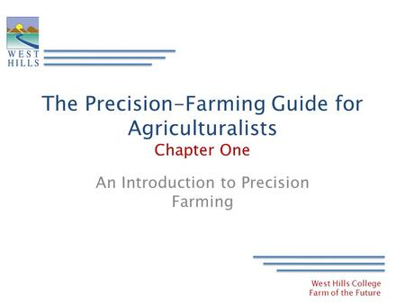 The Precision-Farming Guide for Agriculturalists Chapter One