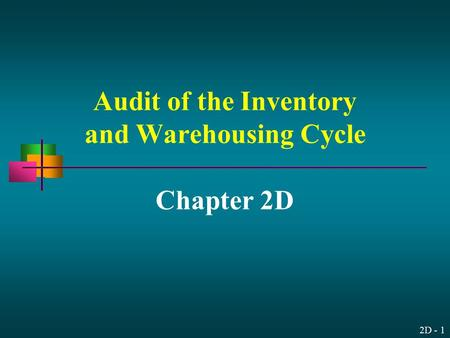 2D - 1 Audit of the Inventory and Warehousing Cycle Chapter 2D.