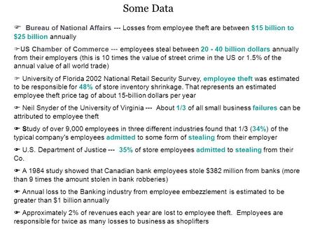 Bureau of National Affairs --- Losses from employee theft are between $15 billion to $25 billion annually  US Chamber of Commerce --- employees steal.