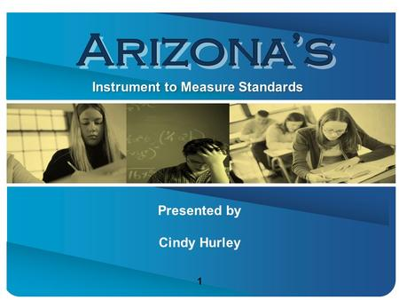 Presented by Cindy Hurley Instrument to Measure Standards 1 1.