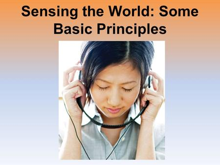Sensing the World: Some Basic Principles. Introduction Sensation Perception –Are one continuous process.