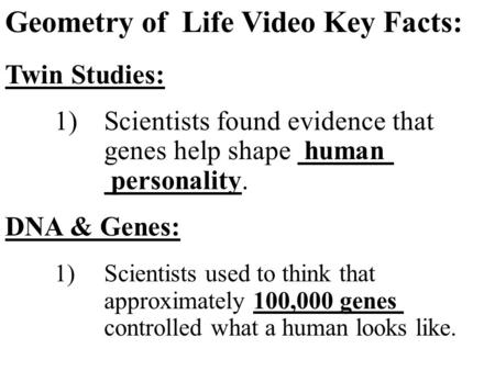 Geometry of Life Video Key Facts: Twin Studies: 1)Scientists found evidence that genes help shape human personality. DNA & Genes: 1)Scientists used to.