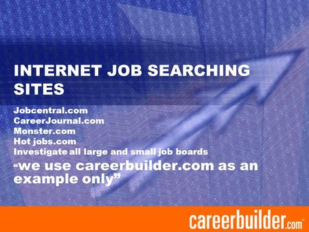 "INTERNET JOB SEARCHING SITES Jobcentral.com CareerJournal.com Monster.com Hot jobs.com Investigate all large and small job boards "" we use careerbuilder.com."