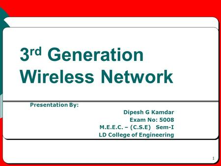 1 3 rd Generation Wireless Network Presentation By: Dipesh G Kamdar Exam No: 5008 M.E.E.C. – (C.S.E) Sem-I LD College of Engineering.