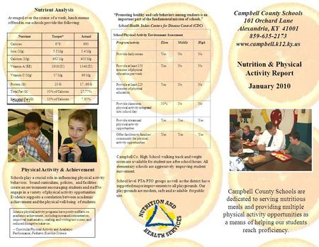 Nutrition & Physical Activity Report January 2010 Campbell County Schools are dedicated to serving nutritious meals and providing multiple physical activity.