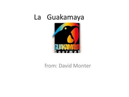 La Guakamaya from: David Monter. Appetizers=1 Chips with tomato, hot sauce.