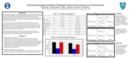 Electrophysiological Correlates of Establishing Discourse Coherence in Schizophrenia Tali Ditman 1, Donna Kreher 1, Phillip J. Holcomb 1, & Gina R. Kuperberg.