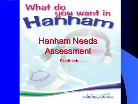 Feedback Hanham Needs Assessment. Results of the Hanham Needs Assessment Survey The following graphics represent responses to the survey for which 450.