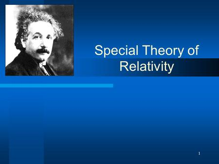 1 Special Theory of Relativity. 2 Introduction In 1905, Albert Einstein changed our perception of the world forever. He published the paper On the Electrodynamics.