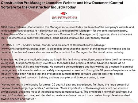 Construction Pro Manager Launches Website and New Document Control Software for the Construction Industry Today 1888 Press Release - Construction Pro Manager.