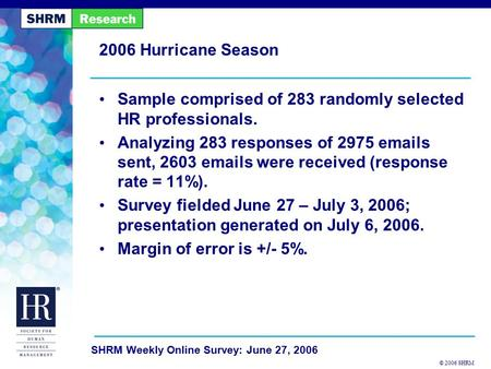 © 2006 SHRM SHRM Weekly Online Survey: June 27, 2006 2006 Hurricane Season Sample comprised of 283 randomly selected HR professionals. Analyzing 283 responses.
