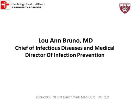 Lou Ann Bruno, MD Chief of Infectious Diseases and Medical Director Of Infection Prevention 2006-2008 NHSN Benchmark Med-Surg ICU: 2.2 222 1.