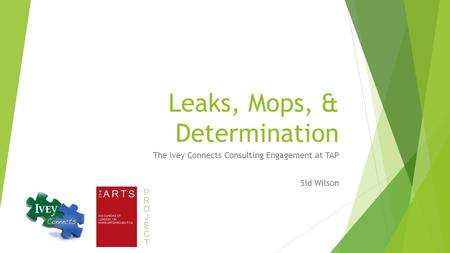 Leaks, Mops, & Determination The Ivey Connects Consulting Engagement at TAP Sid Wilson.