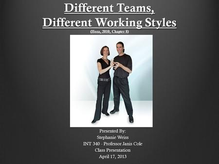 Different Teams, Different Working Styles (Hoza, 2010, Chapter 8) Presented By: Stephanie Weiss INT 340 - Professor Janis Cole Class Presentation April.