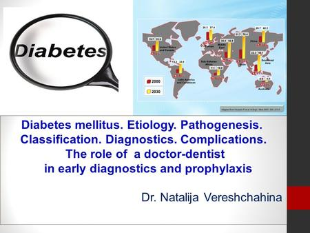 Diabetes mellitus. Etiology. Pathogenesis. Classification. Diagnostics. Complications. The role of a doctor-dentist in early diagnostics and prophylaxis.