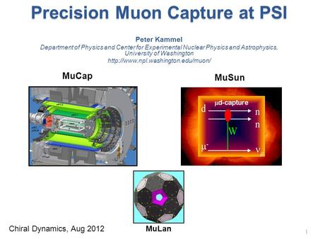 Precision Muon Capture at PSI 1 Peter Kammel Department of Physics and Center for Experimental Nuclear Physics and Astrophysics, University of Washington.
