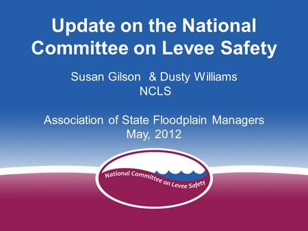 Developing a National Levee Safety Program Mike Stankiewicz - NCLS Arizona Floodplain Management Association November 3, 2011 1 Update on the National.