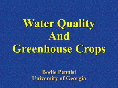 Water Quality And Greenhouse Crops Bodie Pennisi University of Georgia.